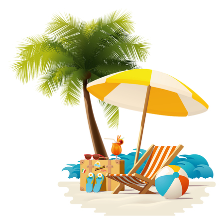 Detailed vector icon representing deck chair, travel suitcase, sun umbrella and cocktail near deck chair on the seaside beach
