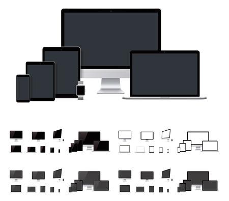 tablet: Vector realistic laptop, desktop computer, mobile, tablet, smartwatch templates