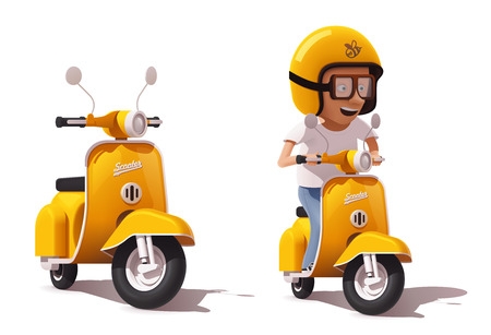 motor transport: Vector realistic vintage yellow scooter and scooter driver icon Illustration