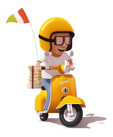 flag: Vector realistic retro pizza delivery scooter and pizza courier driver icon