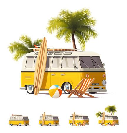 palm: Vector realistic vintage hippie van icon set
