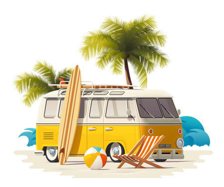 seventies: Vector realistic vintage surfer van on the beach icon Illustration