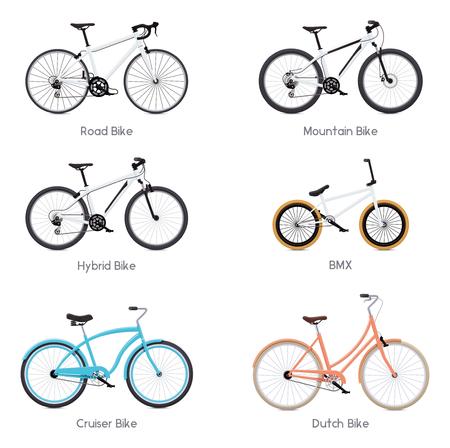bicicleta vector: Conjunto de los diferentes vectores bicicletas - bicicleta de carretera, BMX, bicicleta de montaña, híbridas, bicicleta de crucero y de la bicicleta holandesa Vectores
