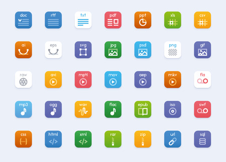 formats: Set of the vector icons representing different file formats