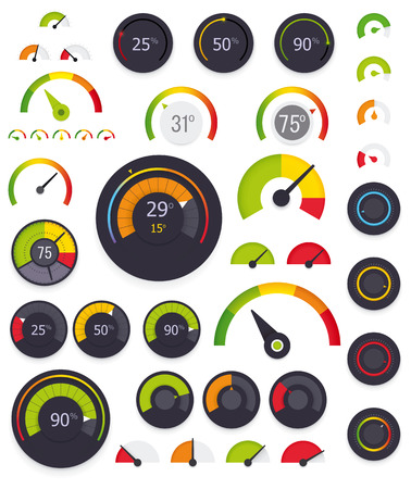 rating meter: Set of the flat and colorful gauges