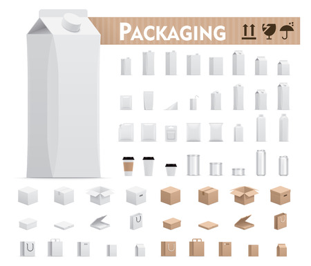 Vector retail packages set Illustration