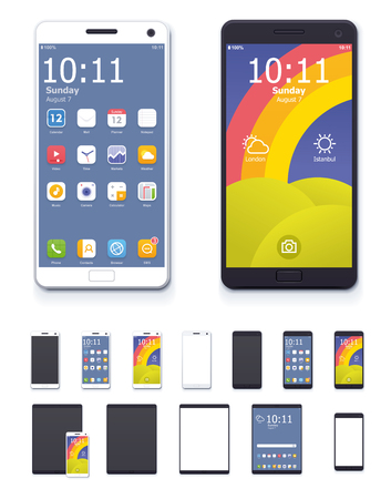 Set of the generic tablets and phones with system interface icons and blank screens Illustration