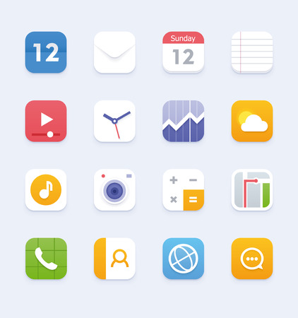 Set of the phone or tablet application icons Illustration