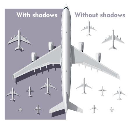 overhead: Vector overhead view airplanes set