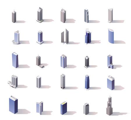huge: Vector isometric skyscrapers set