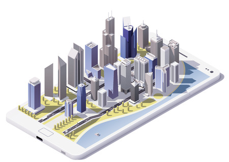 tower house: Vector isometric city on the smartphone screen