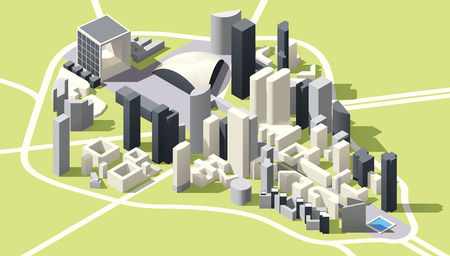 simple: Isometric low poly Map of La Defense business district in Paris, France