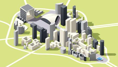 Isometrische laag poly Kaart van de zakenwijk La Defense in Parijs, Frankrijk