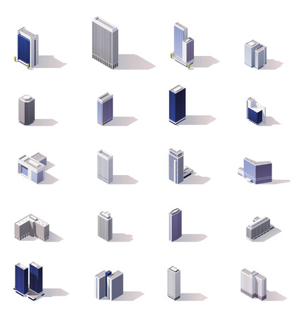 huge: Isometric low poly skyscrapers, offices and stores buildings set