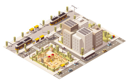 Vector isometric low poly commuter town with blocks, playground and public transport