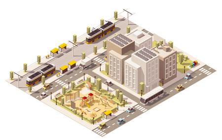 Vector isometrische laag poly forenzenstad met blokken, speeltuin en het openbaar vervoer