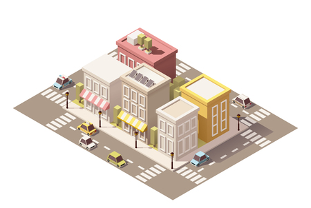 awnings: Vector isometric low poly buildings with stores and street elements