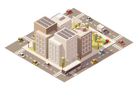 road block: Vector isometric low poly buildings with stores and street elements