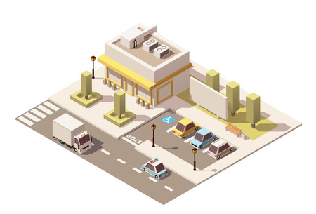 home icon: Vector isometric buildings with stores and street elements