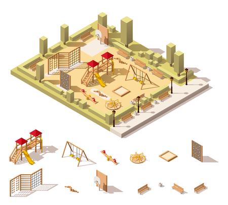 Vector équipements isométrique de jeux et aire de jeux poly bas