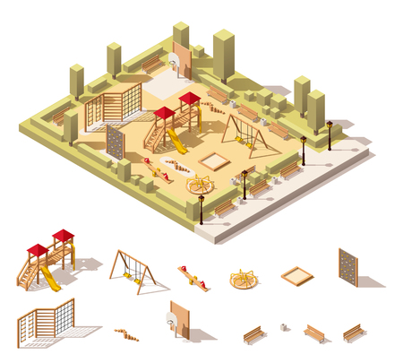 Vector isometric low poly playground and playground equipment Ilustração