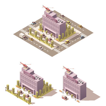 Vector isometric low poly hospital icon Illustration