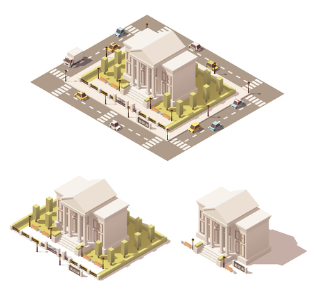 ortseingangsschild: Vector isometrische Low-Poly-Museumsbau Symbol