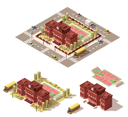 Vector isometric low poly school building icon