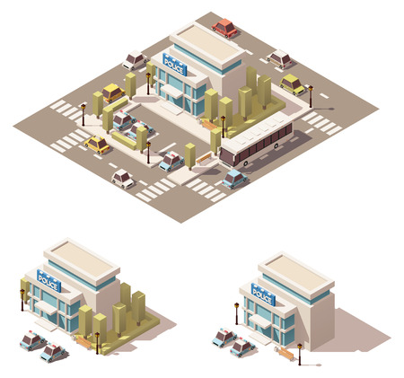 precinct station: Vector isometric low poly city infographic element representing police department building