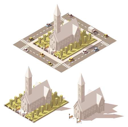 front house: Vector isometric low poly church building icon Illustration