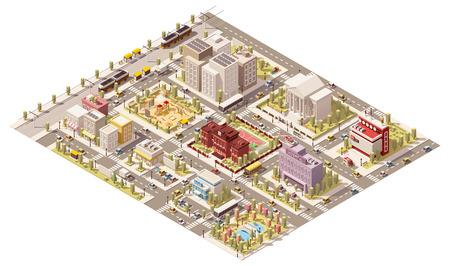 servicios publicos: Vector isométrica infraestructura de ciudad baja poli