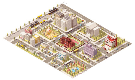 Vector izometrycznym niska infrastruktury miasta poli Ilustracje wektorowe