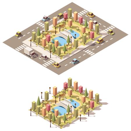 Vector isometrische laag poly stadspark met vijver en brug