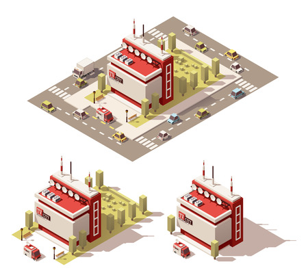antennas: Vector isometric low poly city infographic element representing television station building