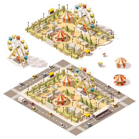 ベクトル等尺性の低ポリ遊園地のアトラクションや店舗