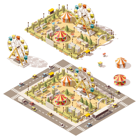 Vector isometric low poly amusement park with attractions and stores