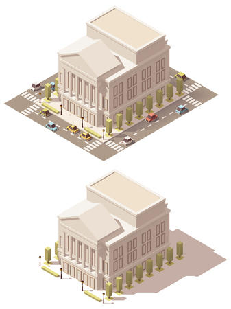 Vector izometryczny budynek teatru poli teatru niskiego