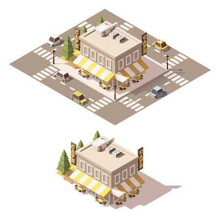overhang: Vector isometric low poly cafe building Illustration
