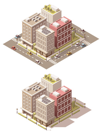 small town: Vector isometric low poly town street block