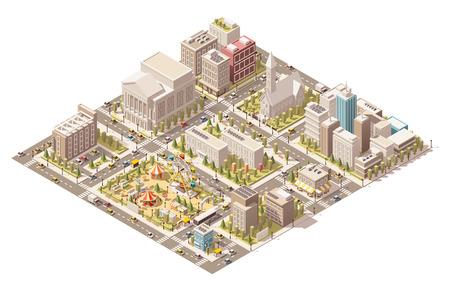 Vector isometrische laag poly stedelijke infrastructuur Stock Illustratie