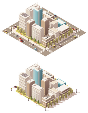 apartment block: Isometric low poly city streets with different skyscrapers buildings Illustration