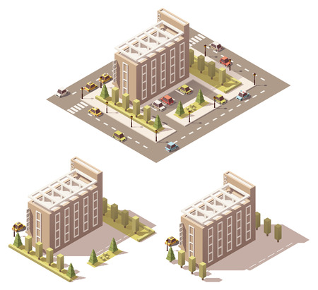 building lot: Vector isometric low poly hotel building