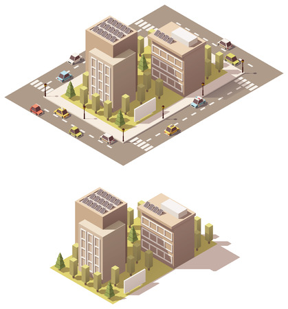 building: Vector isometric low poly town street block