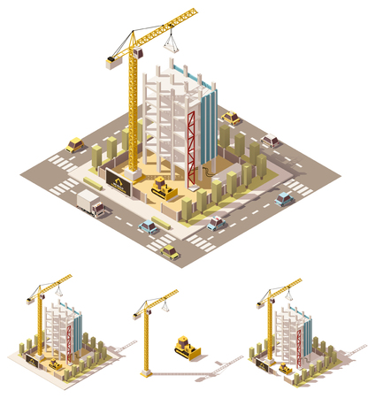building construction site: isometric low poly building construction site Illustration