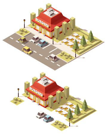 isometric low poly fast food restaurant building