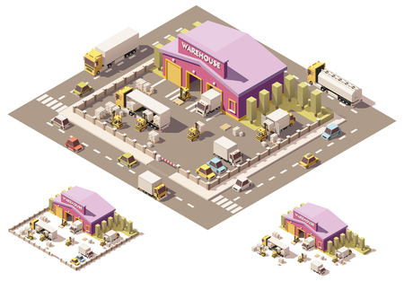 industrial machinery: isometric low poly warehouse building with trucks and forklifts Illustration