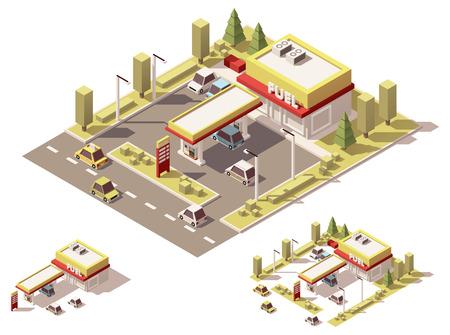 gasolinera: conjunto de iconos isométrica que representa pequeña gasolinera
