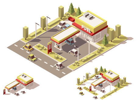 garage on house: Isometric icon set representing small gas station Illustration