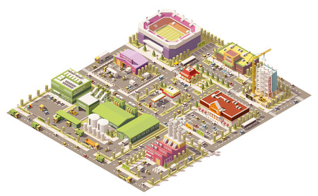 isometric low poly city infrastructure Stock Illustratie