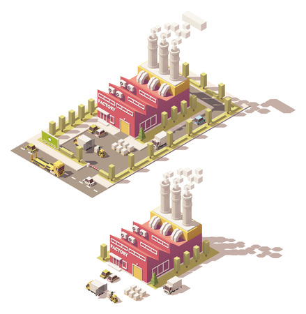 hangar: isometric low poly factory with pipes Illustration